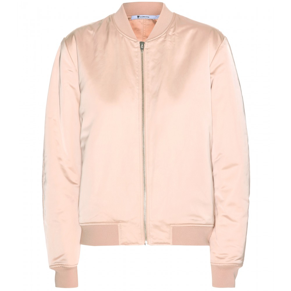 T by alexander wang Satin Bomber Jacket in Pink | Lyst