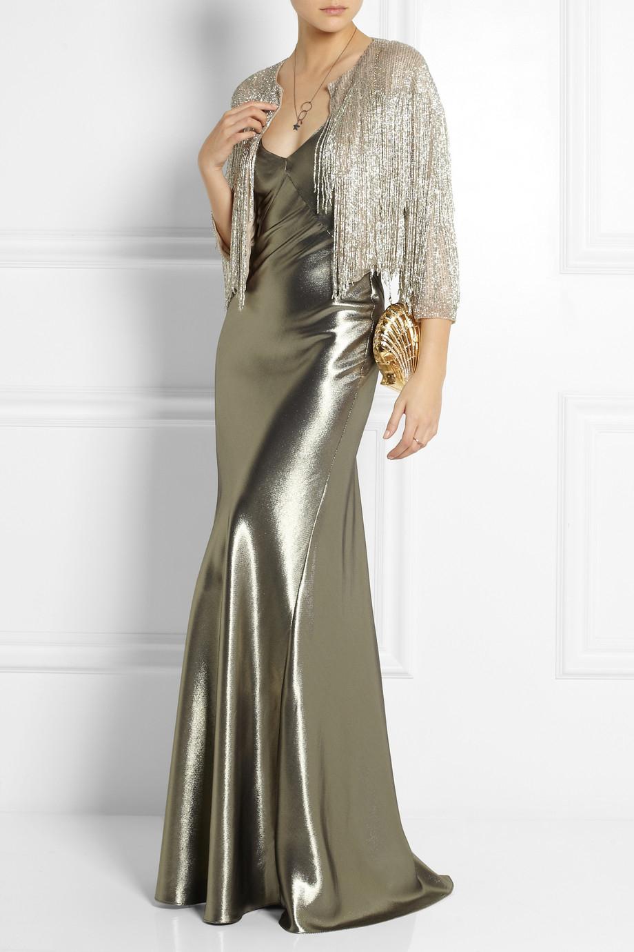 Topshop Fluted Silk-Blend Lamé Maxi Dress in Metallic