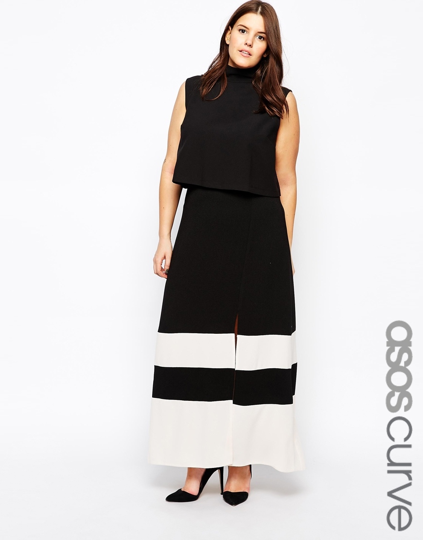 asos exclusive maxi skirt with split front in colour block