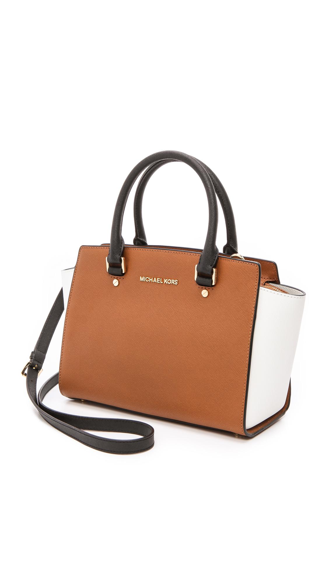 14ebd86ca756 ... discount code for lyst michael michael kors selma medium satchel  luggagewhiteblack bff14 7209d