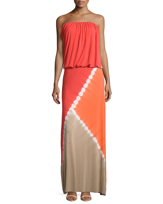 Young fabulous & broke Sidney Tie-Dye Strapless Maxi Dress ...