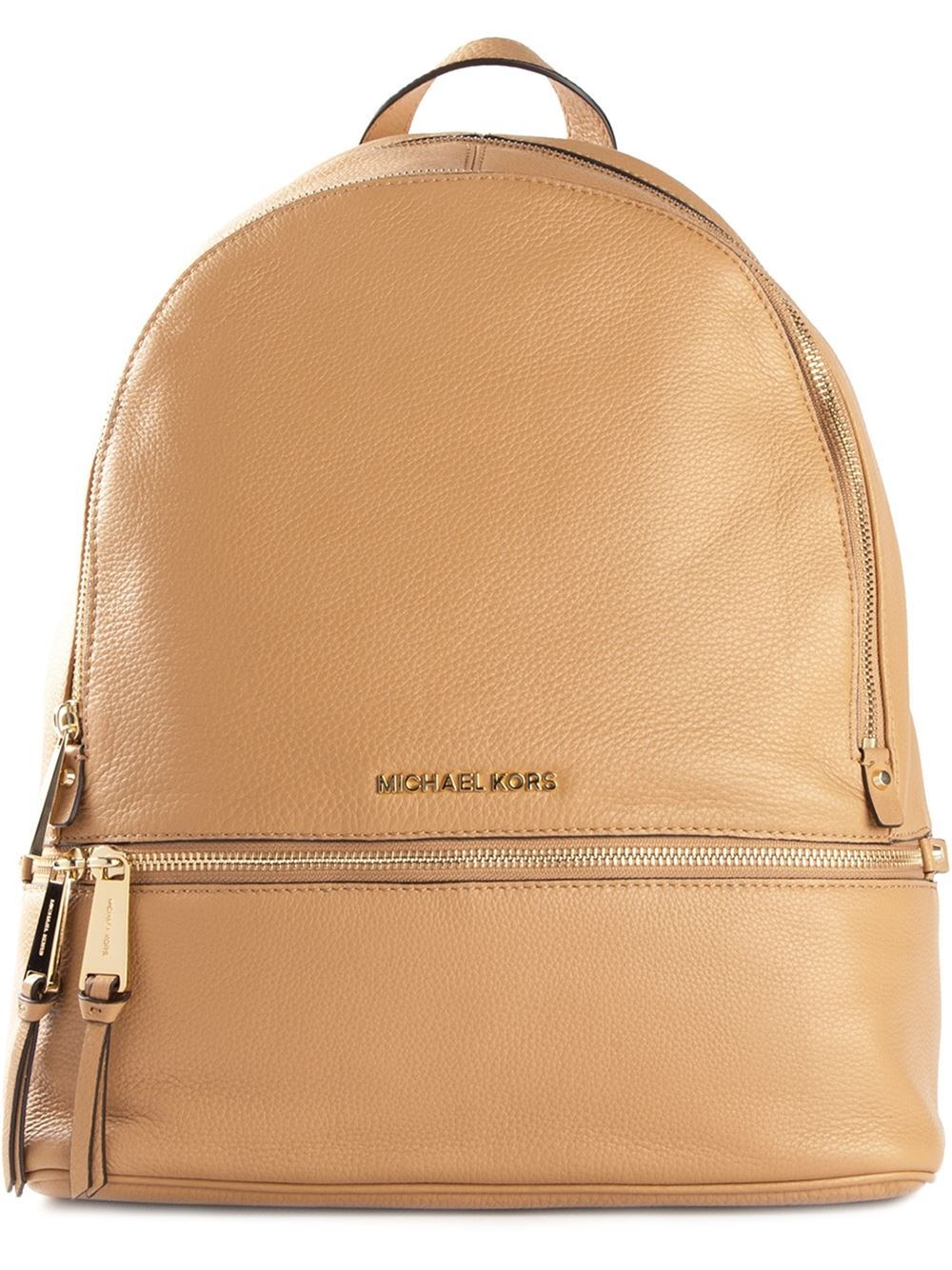 michael michael kors zip detail backpack in brown lyst. Black Bedroom Furniture Sets. Home Design Ideas