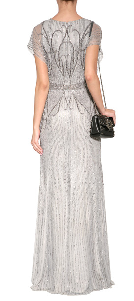 Lyst Jenny Packham Sequin Embellished Gown In Platinum