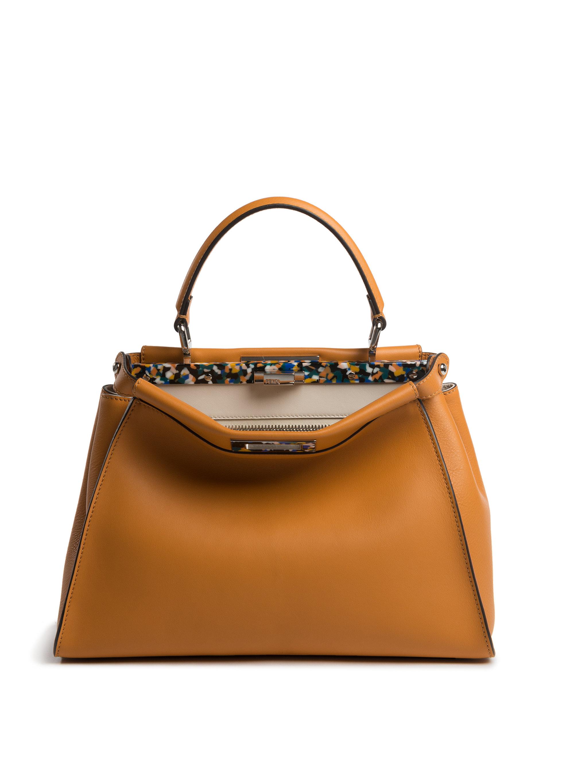 b093acb06bc0 Lyst - Fendi Peekaboo Medium Tile-accented Leather Satchel in Brown
