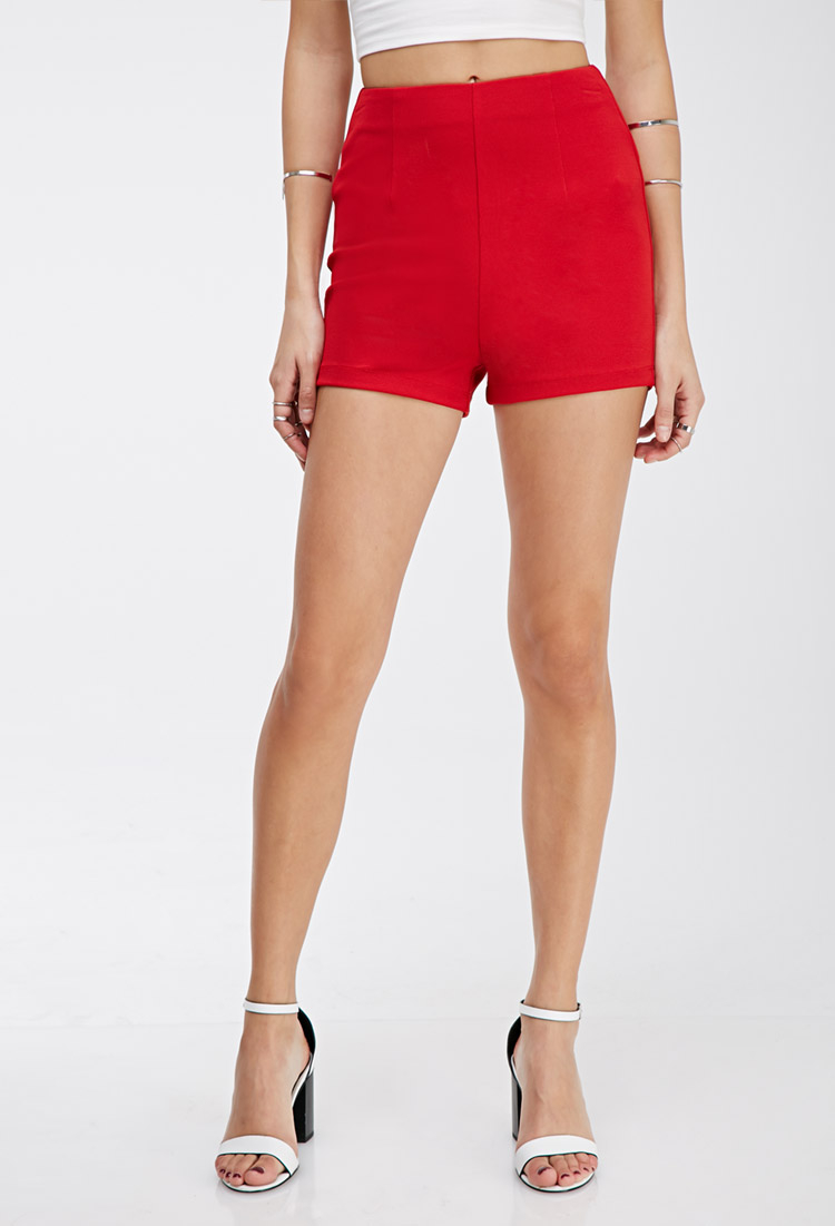 Forever 21 Textured High-waisted Shorts in Red | Lyst