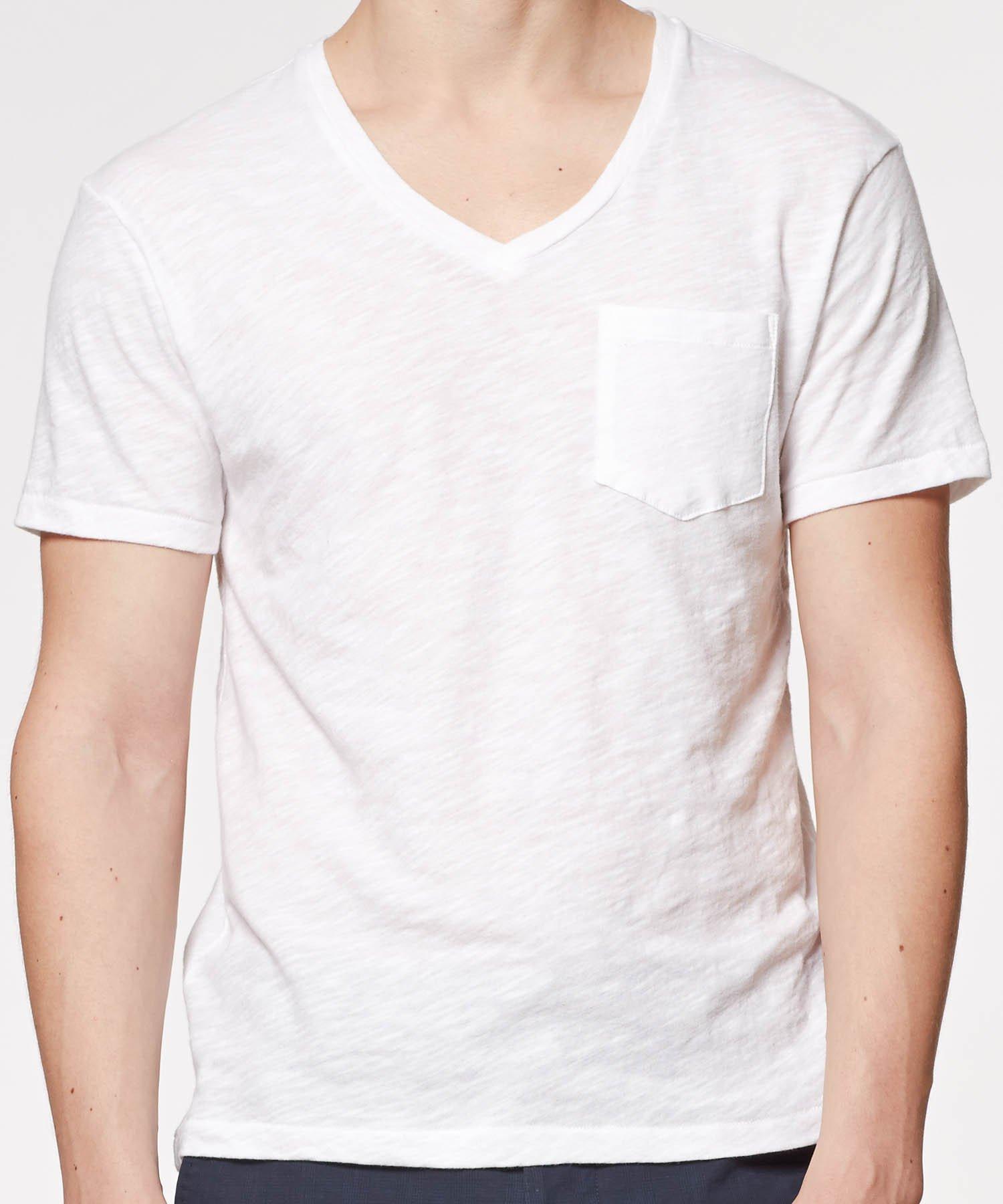 Todd Snyder Pocket V neck T shirt In White For