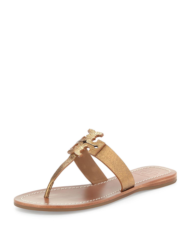 bae601c0436d Lyst - Tory Burch Moore Metallic Leather Sandal in Brown