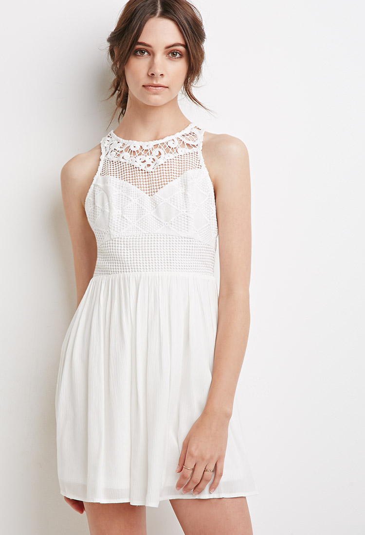 Lyst - Forever 21 Embroidered Crepe Combo Dress in White - photo #46