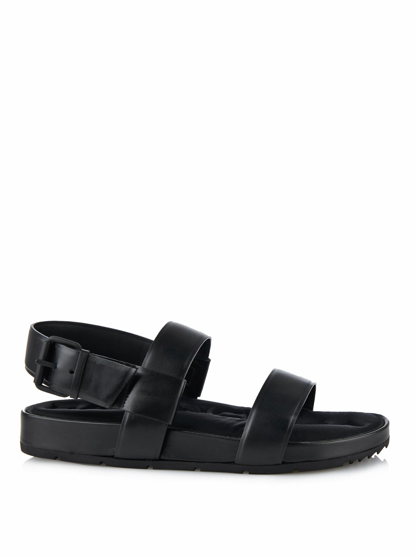 Lyst Balenciaga Double Strap Leather Sandals In Black