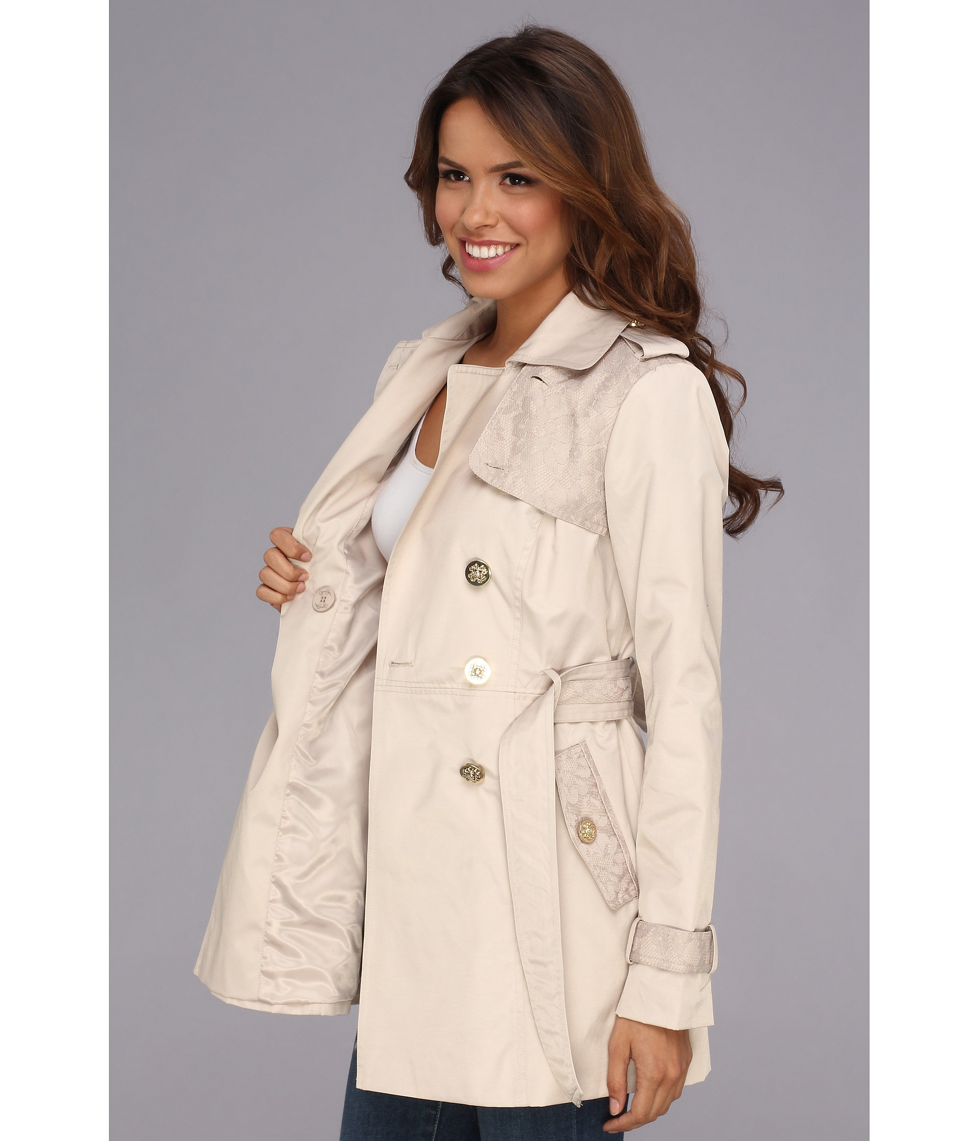 7addaa4811471 Lyst Jessica Simpson Ruffle Trim Belted Trench Coat In Blue