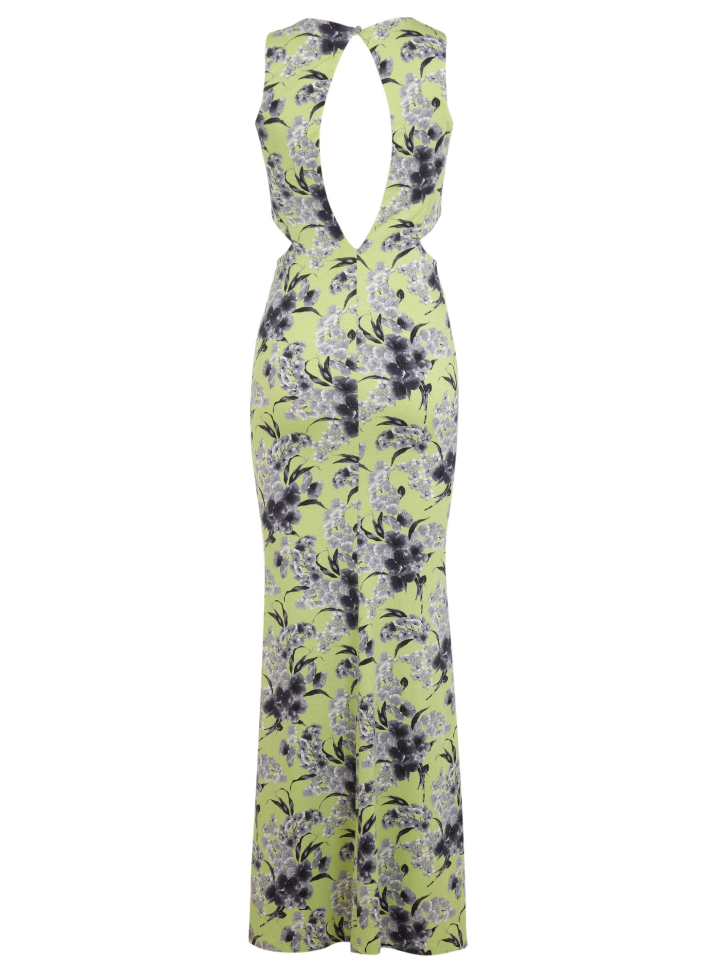 Miss selfridge Lime Floral Maxi Dress in Green - Lyst