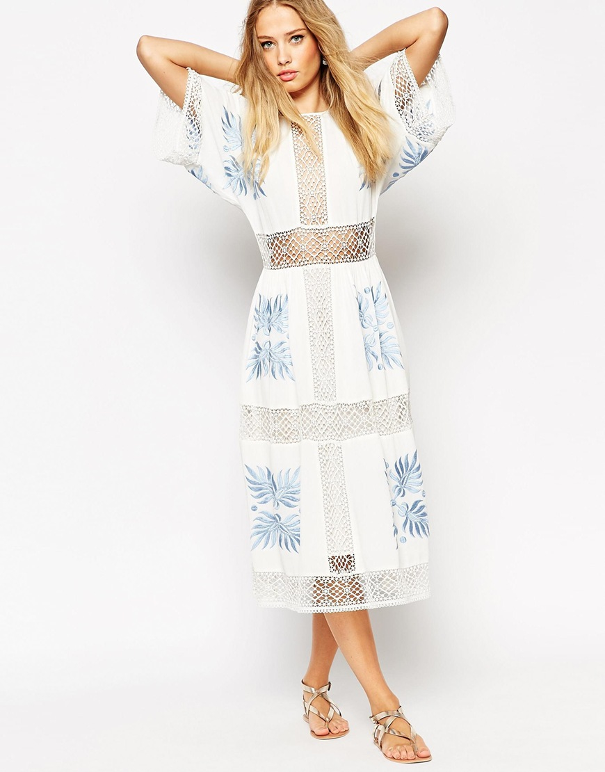 1acf5b6446d ASOS Premium Crochet Cutwork Midi Dress With Blue Embroidery - Lyst