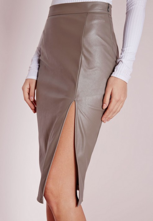 Missguided Faux Leather Side Split Midi Skirt Grey in Gray | Lyst