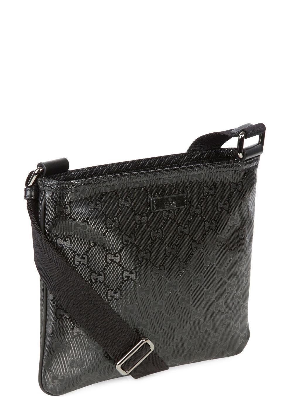 lyst gucci black monogrammed coated canvas messenger bag in black for men. Black Bedroom Furniture Sets. Home Design Ideas