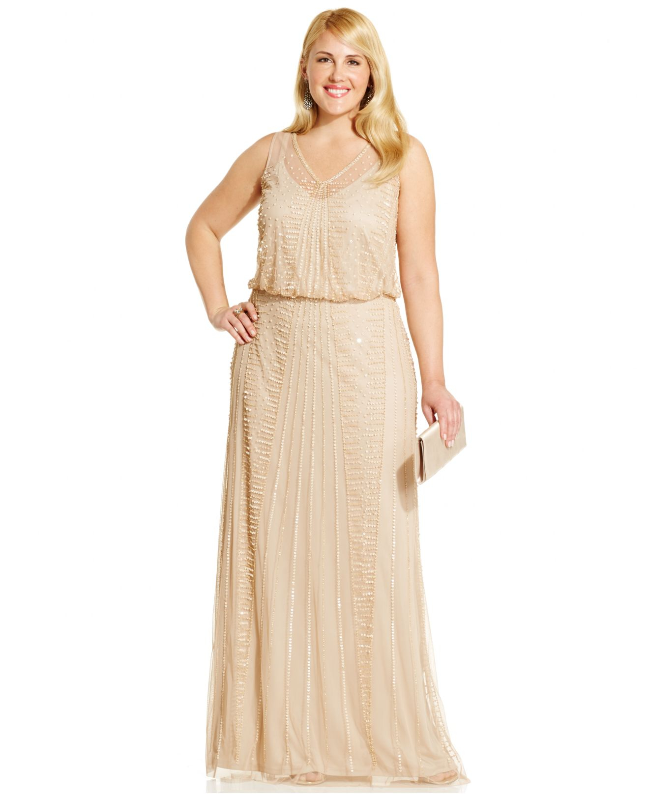 Lyst - Adrianna Papell Plus Size Embellished Gown in Metallic