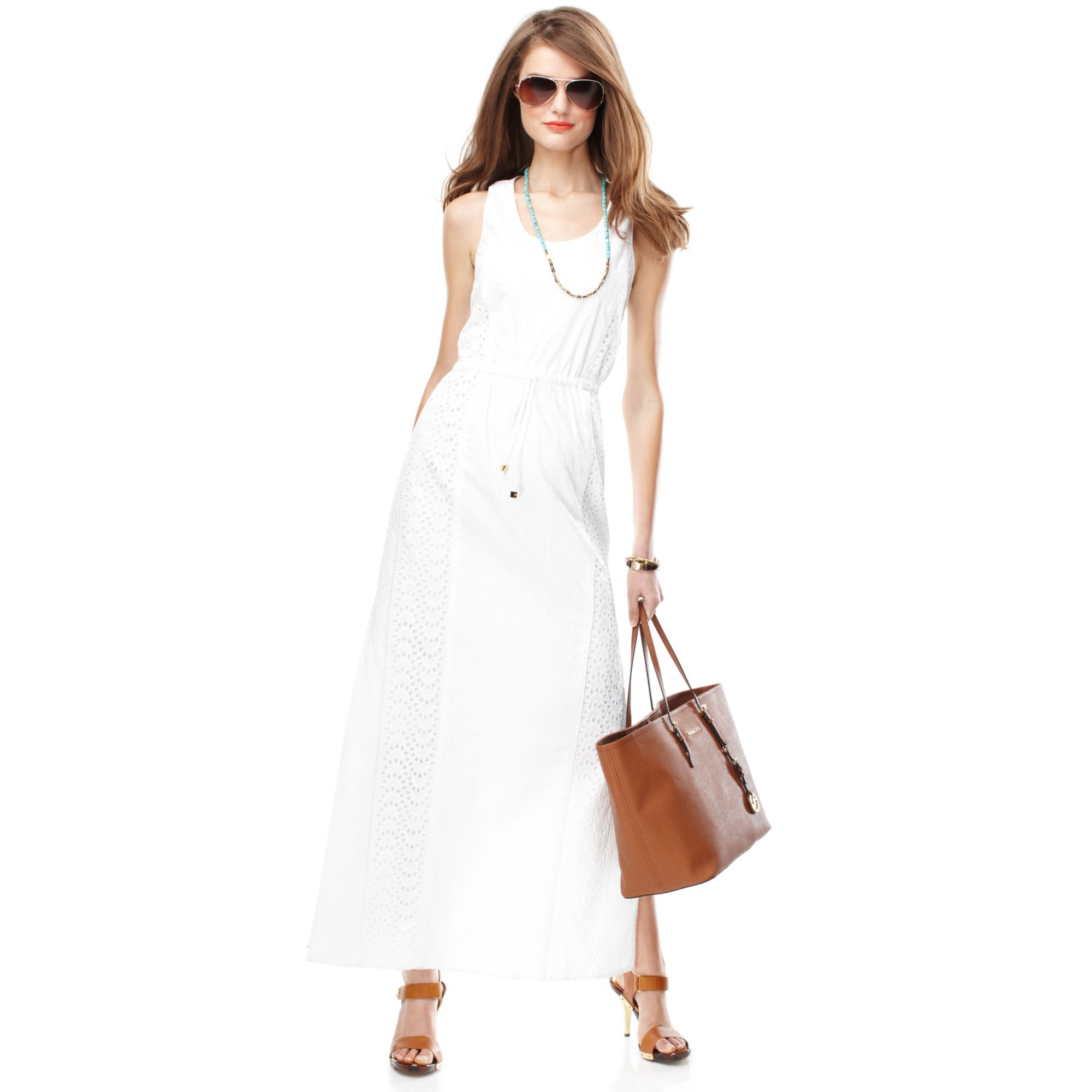 Michael kors Michael Sleeveless Cotton Eyelet Maxi Dress in White ...