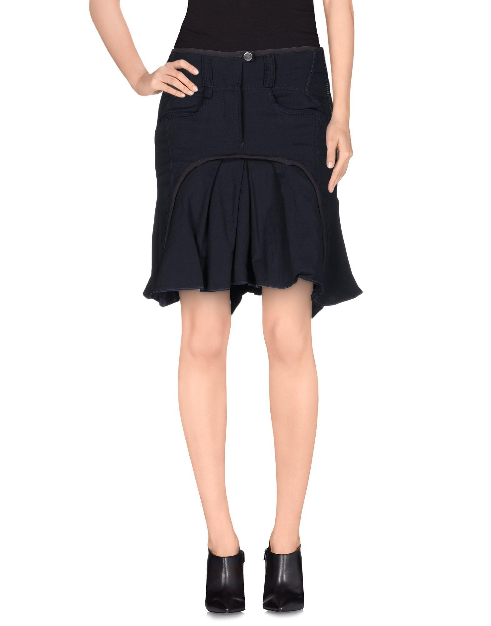 high knee length skirt in blue blue lyst