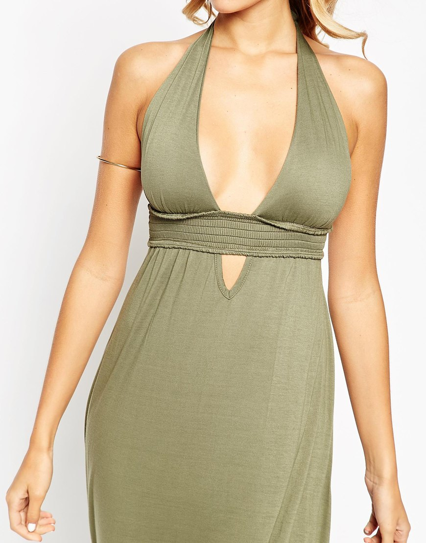 08ce9590163 ASOS Jersey Ruched Halter Maxi Beach Dress in Natural - Lyst