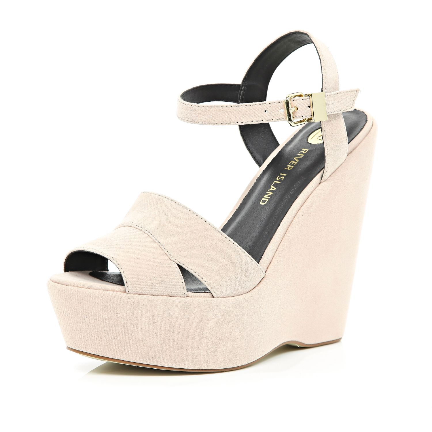 river island light pink wedge sandals in pink lyst