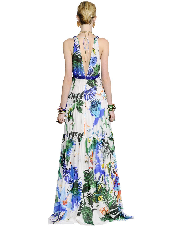Printed silk dress Roberto Cavalli obIuh53