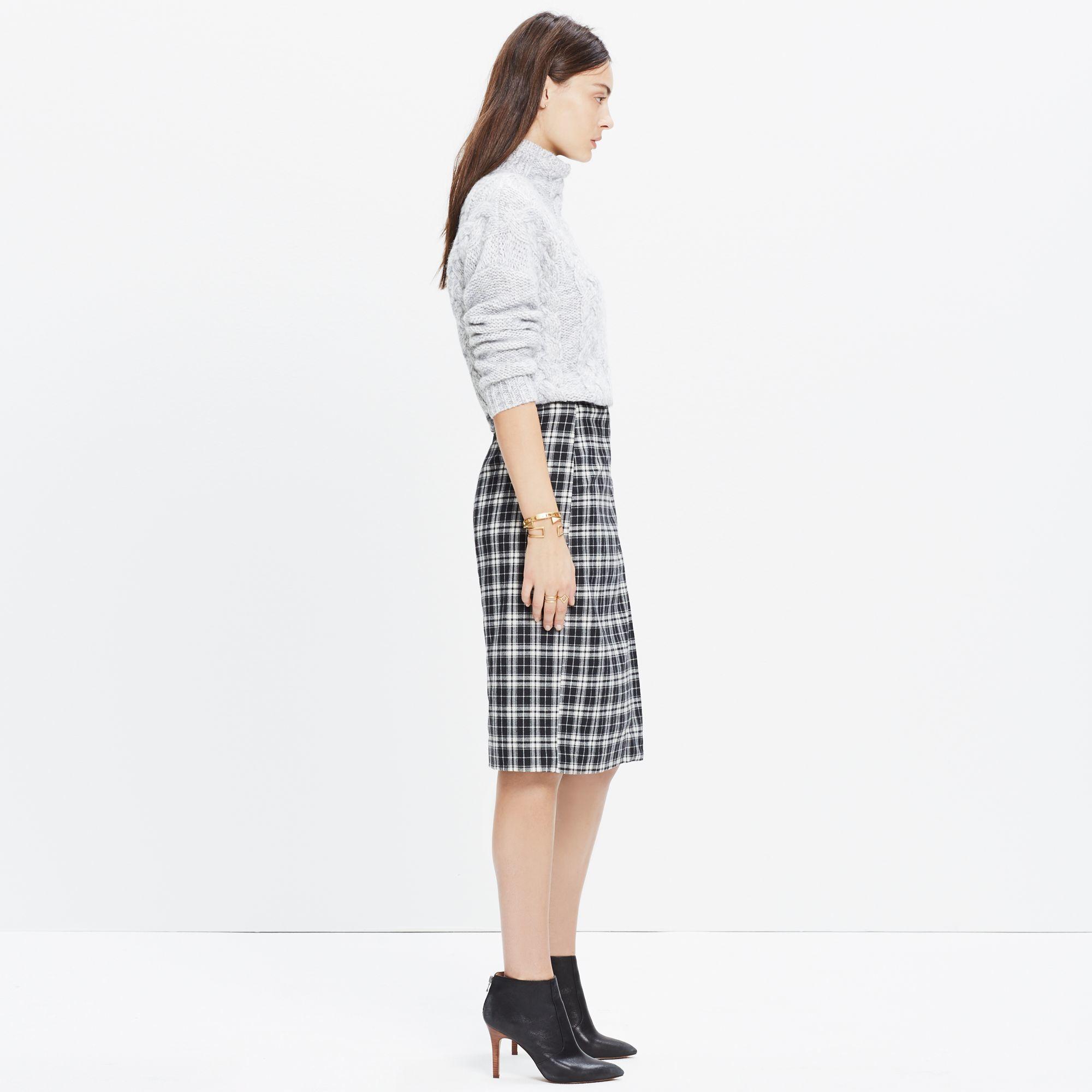 4c661c056 Madewell Plaid Wrap Midi Skirt in Black - Lyst