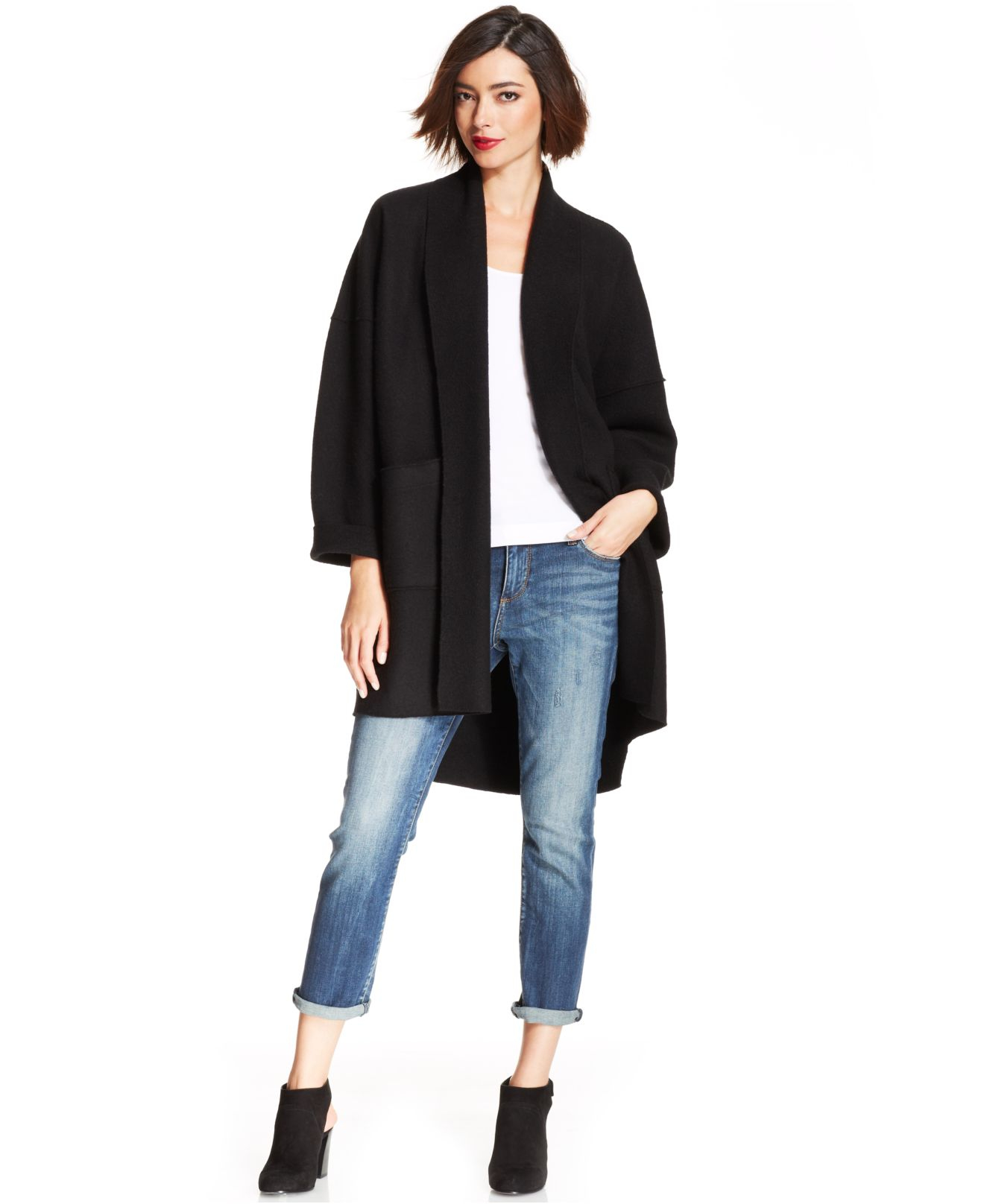 Eileen fisher Merino-Wool Kimono Cardigan in Black   Lyst