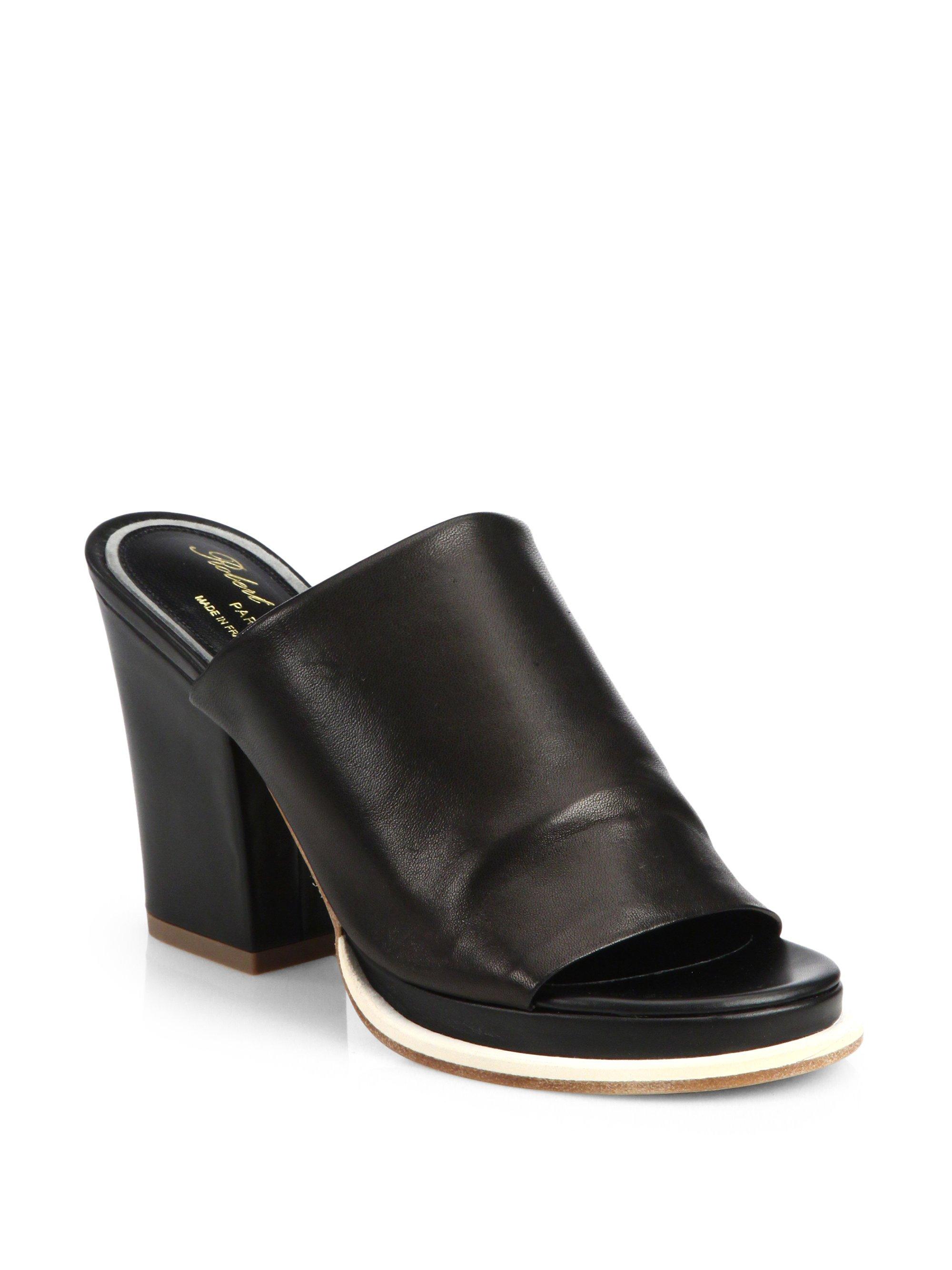 Robert Clergerie Leather Block Heel Mules In Black Lyst