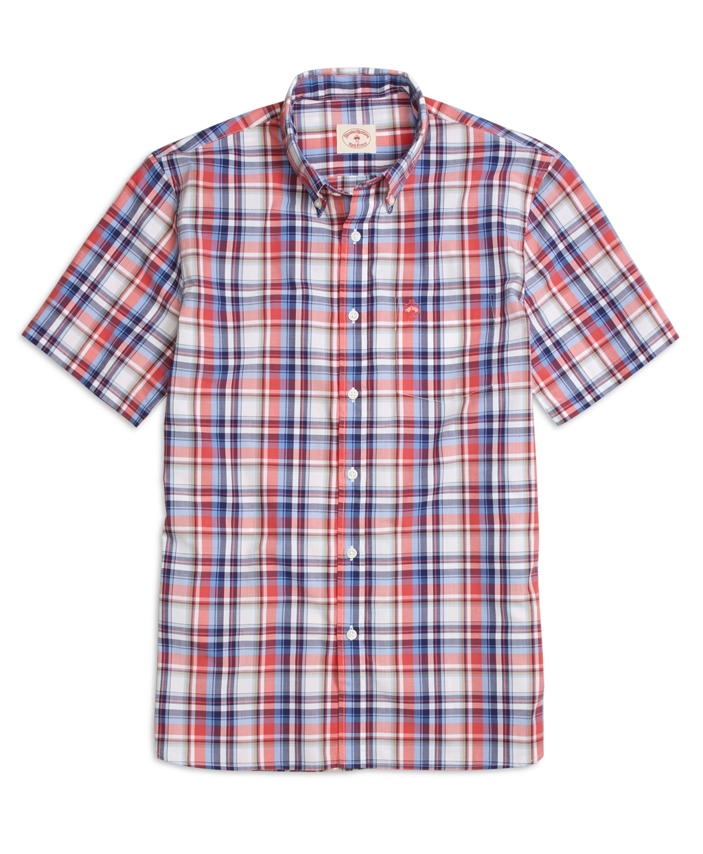 Brooks Brothers Red And Blue Plaid Short Sleeve Sport