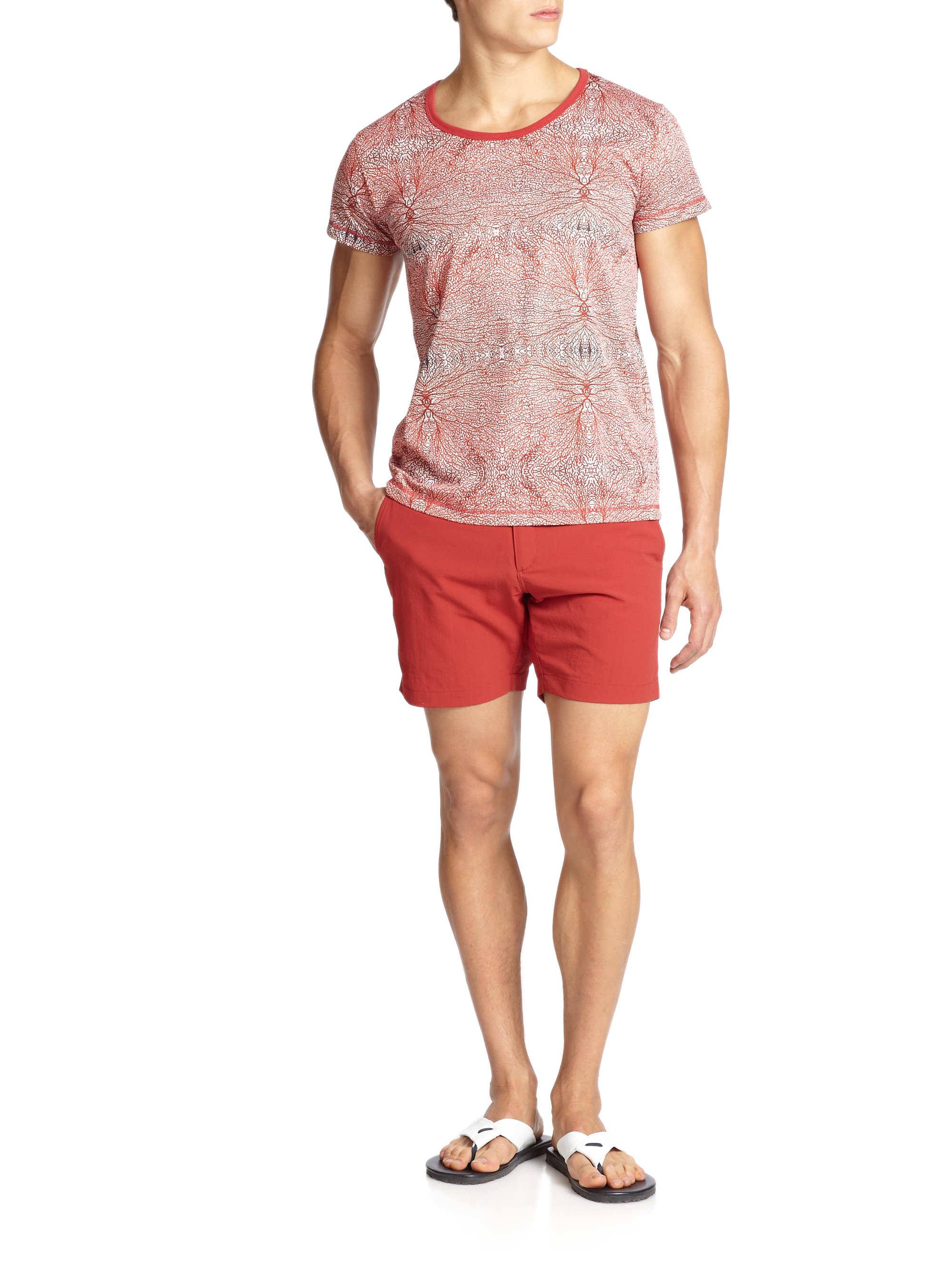 monsieur madone abstract patterned tee in red for men lyst. Black Bedroom Furniture Sets. Home Design Ideas