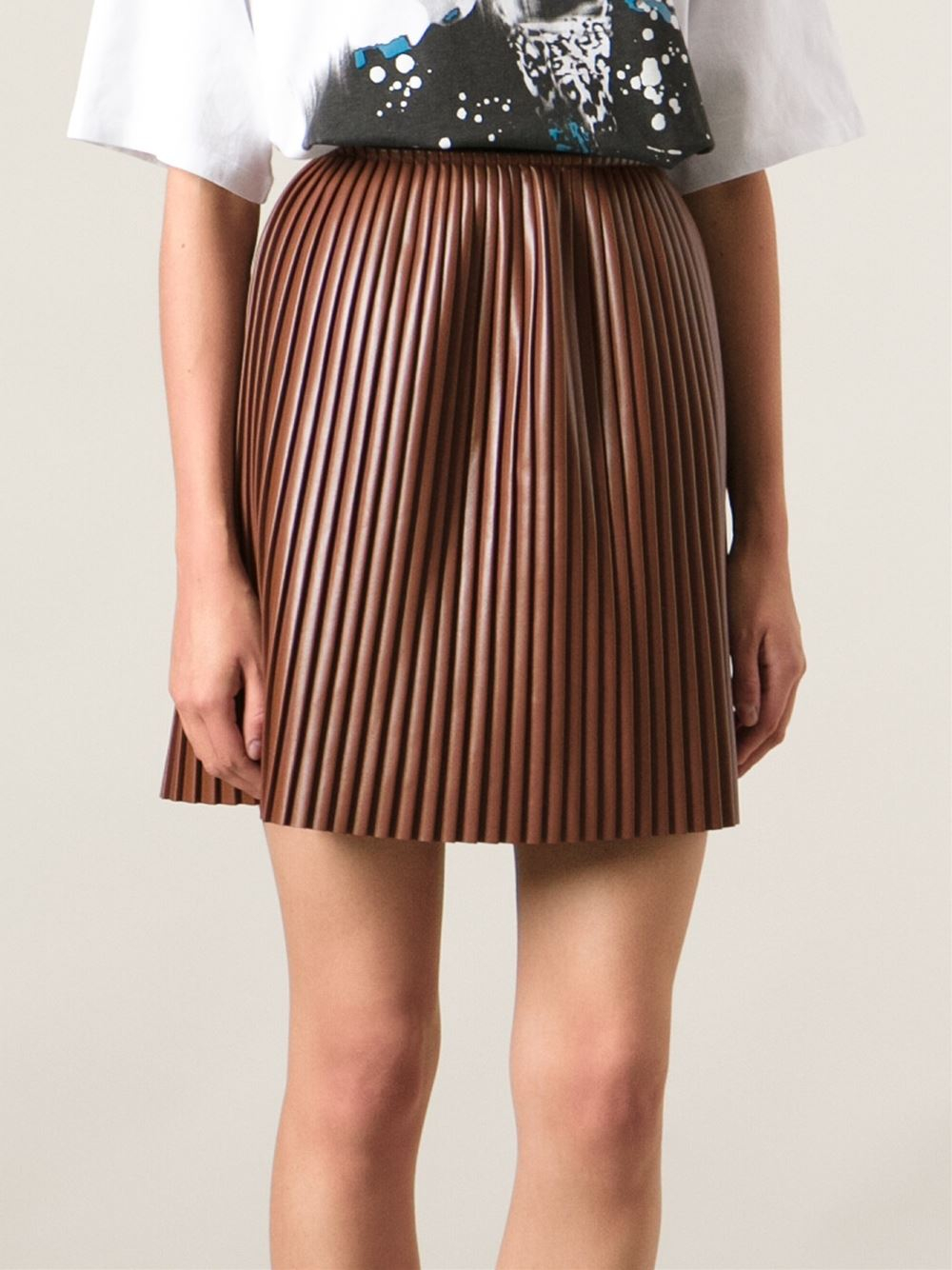 Msgm Pleated Skirt in Brown | Lyst