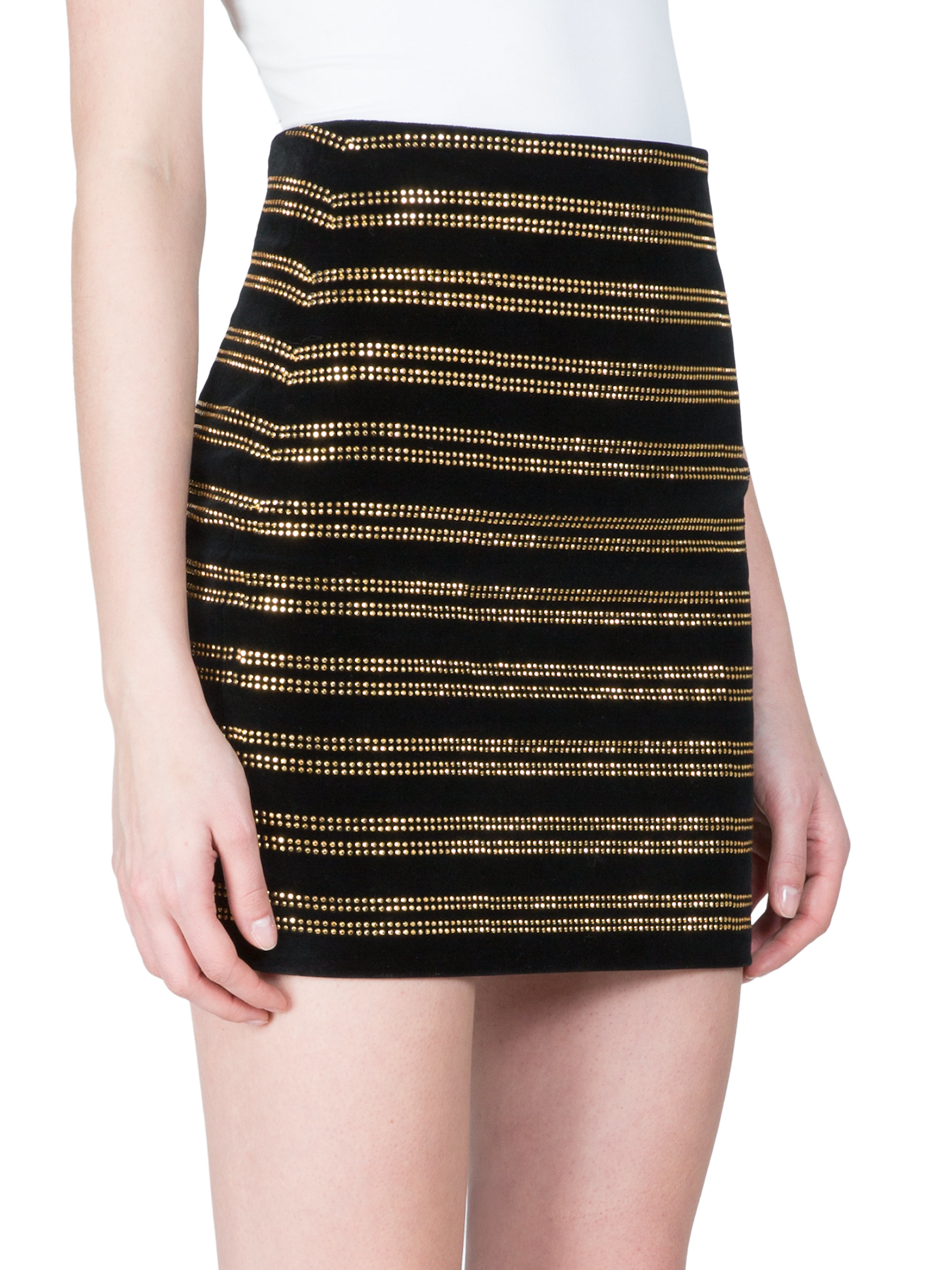 Balmain Embellished Horizontal Stripe Skirt in Black | Lyst