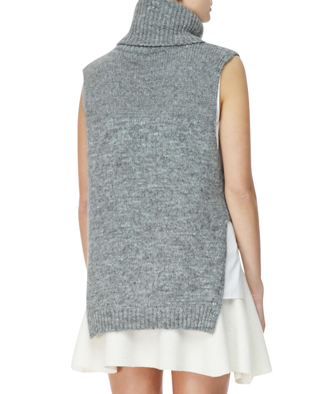 3.1 phillip lim Sleeveless High-Low Turtleneck Sweater in Blue | Lyst