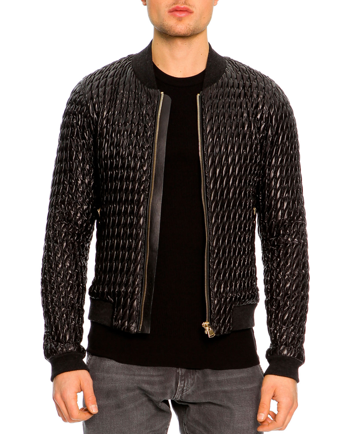 Lyst Dolce Amp Gabbana Quilted Bomber Jacket In Black For Men