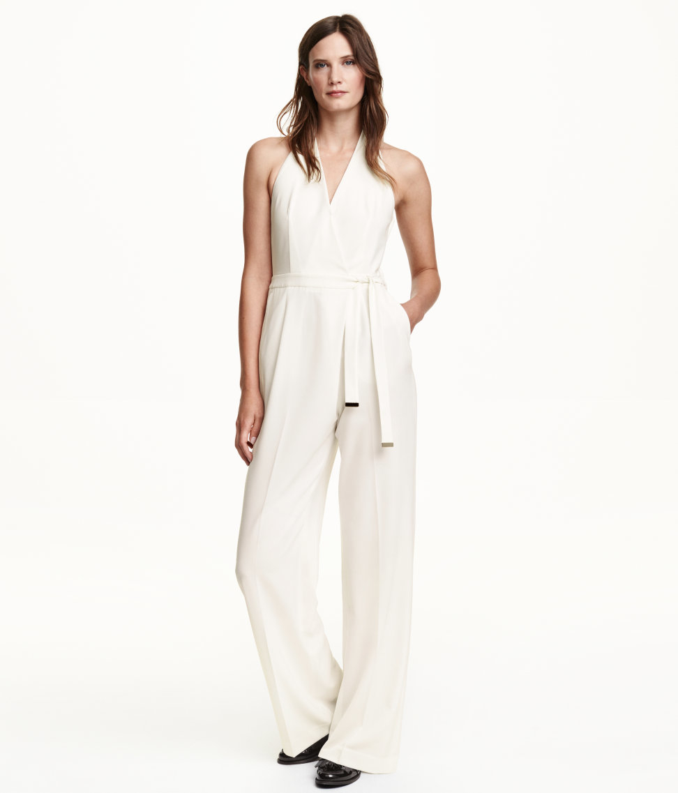 h m halterneck jumpsuit in white lyst. Black Bedroom Furniture Sets. Home Design Ideas