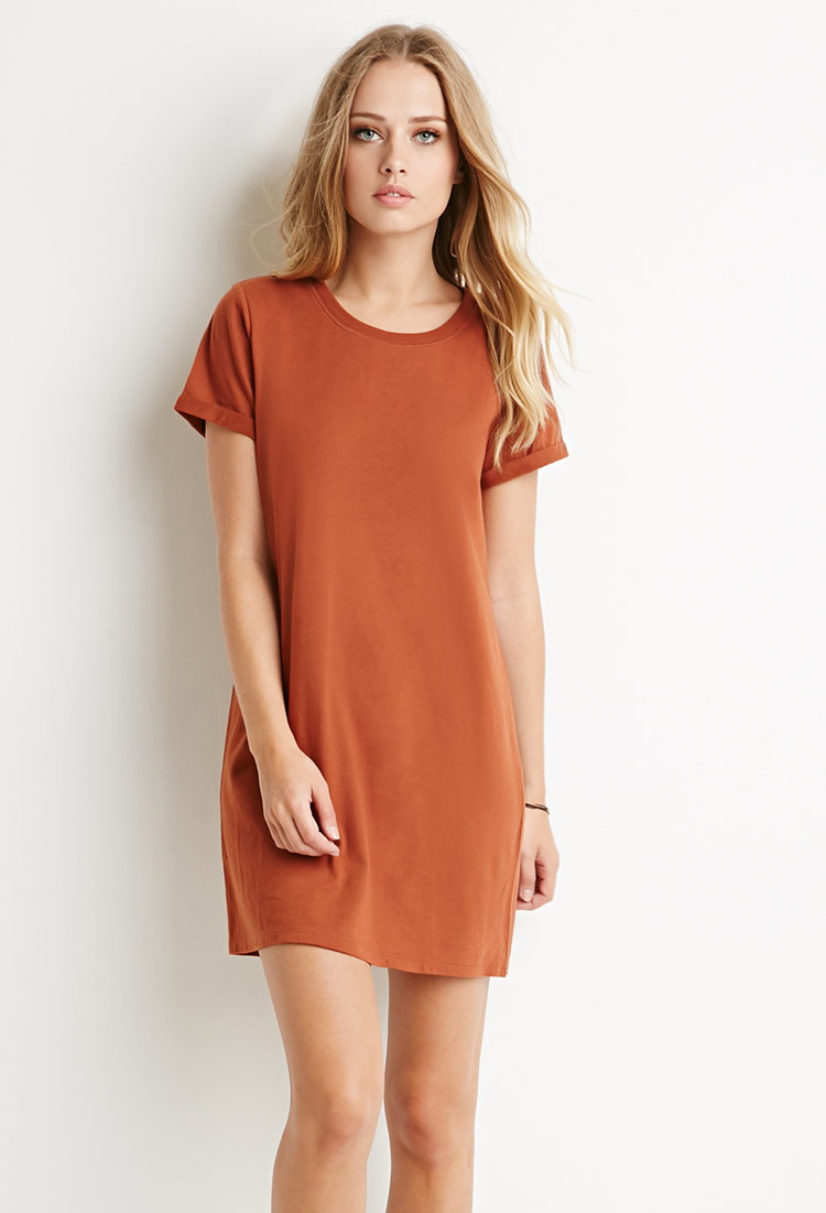 645a52d514ea Lyst - Forever 21 Cotton T-shirt Dress in Brown