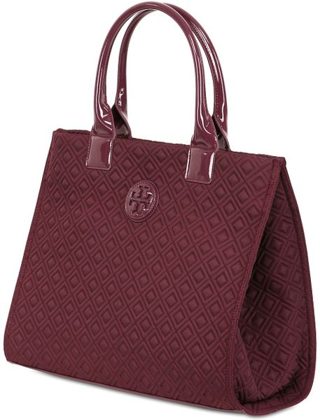 Tory Burch Ella Quilted Nylon Tote Bag in Purple (BURGUNDY)