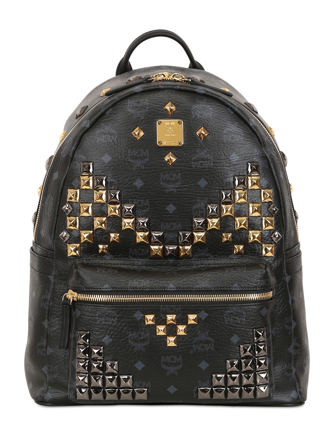 mcm medium stark studded backpack in black lyst. Black Bedroom Furniture Sets. Home Design Ideas