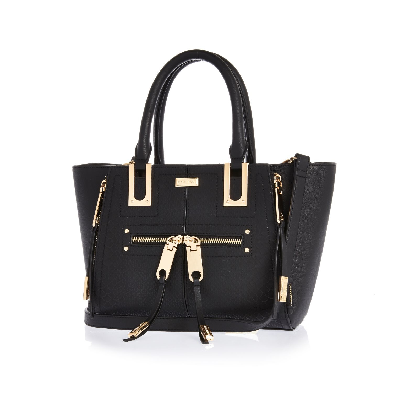 473a3dbfdf Lyst - River Island Black Mini Zip Winged Tote Handbag in Black