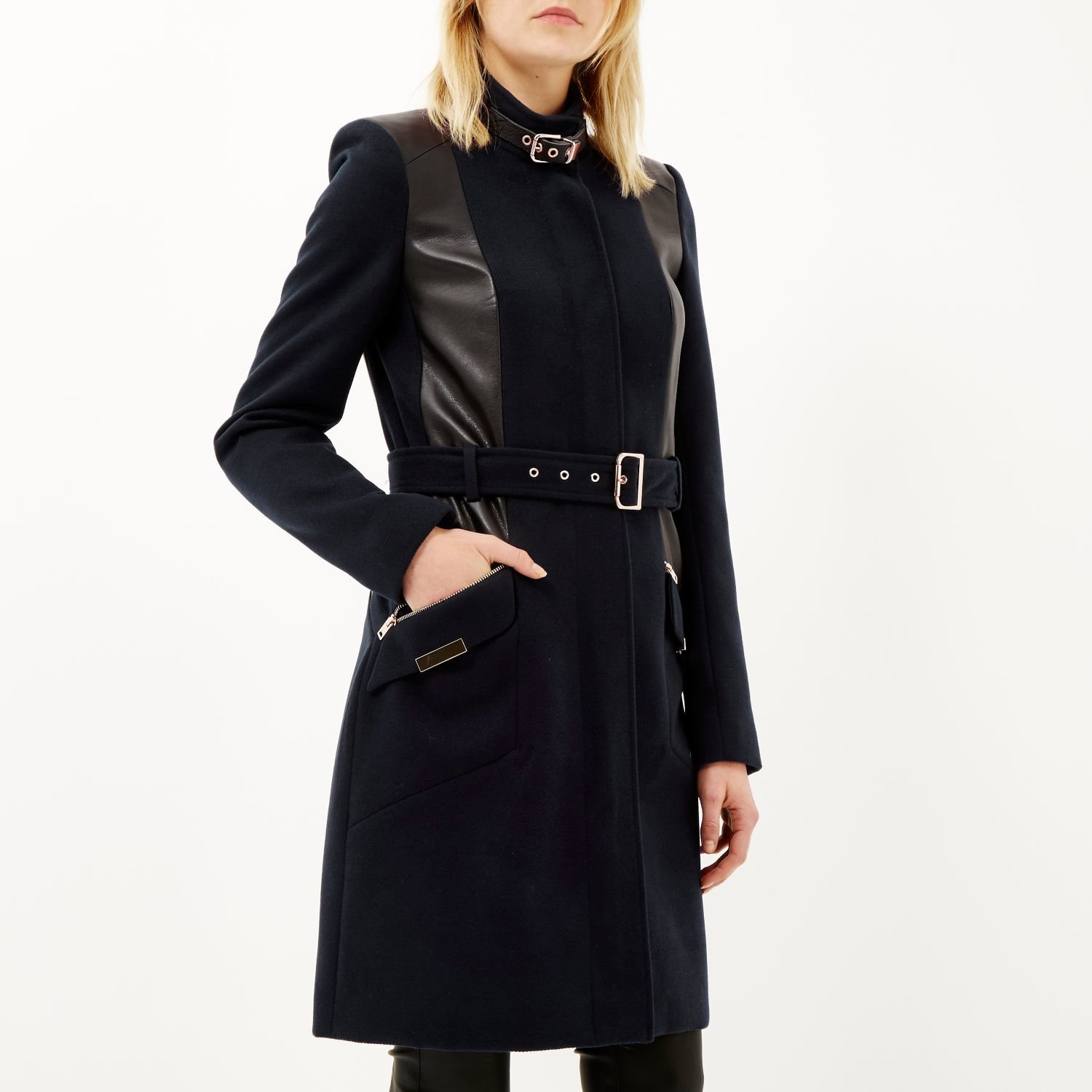 River island Navy Structured Belted Military Coat in Blue | Lyst