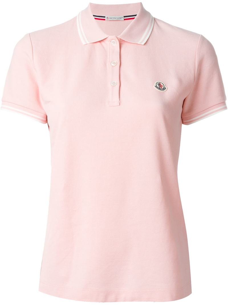 moncler classic polo shirt in pink lyst. Black Bedroom Furniture Sets. Home Design Ideas