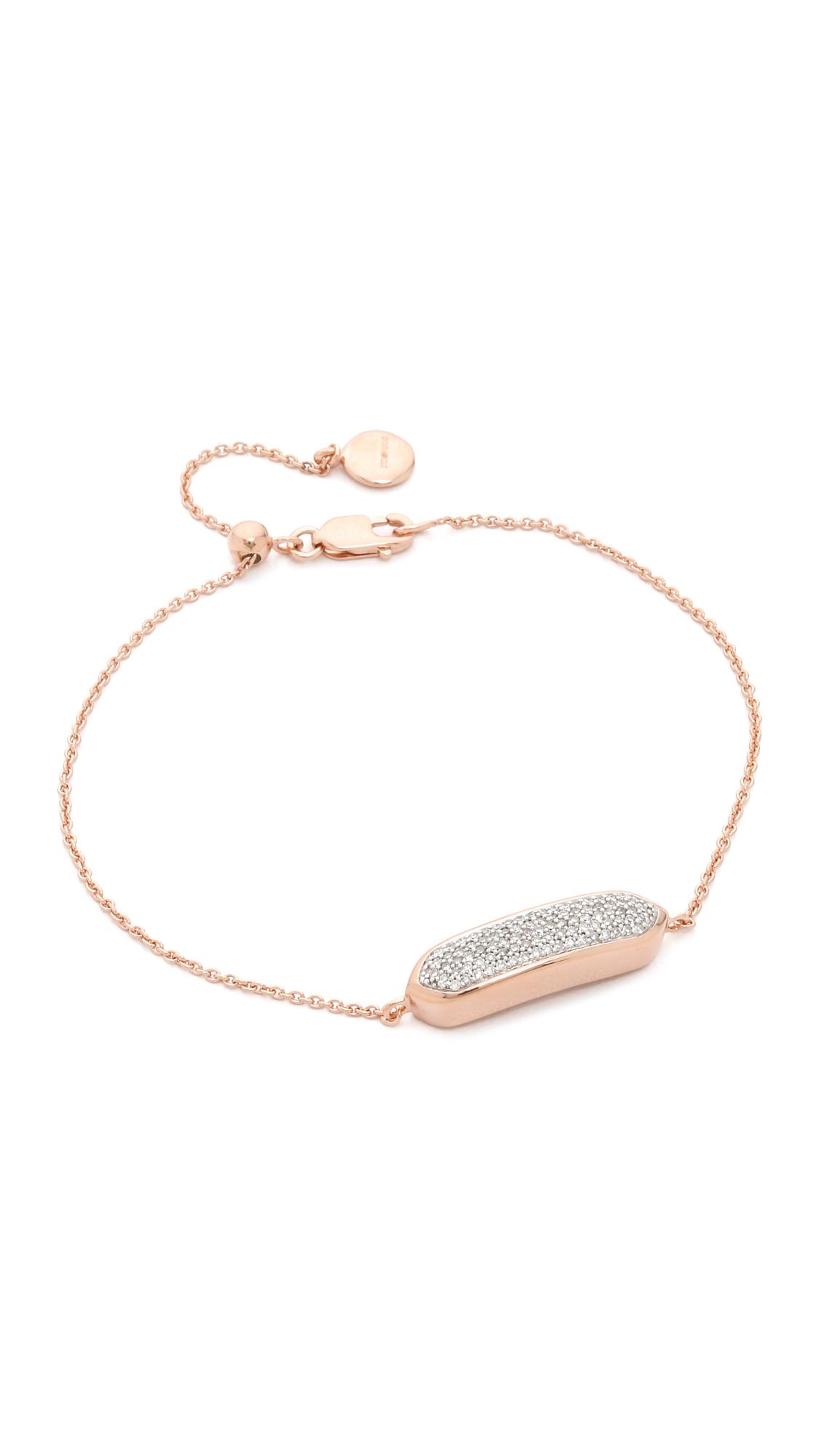Rose Gold Baja Facet Bracelet Rose Quartz Monica Vinader 235Ih97G1