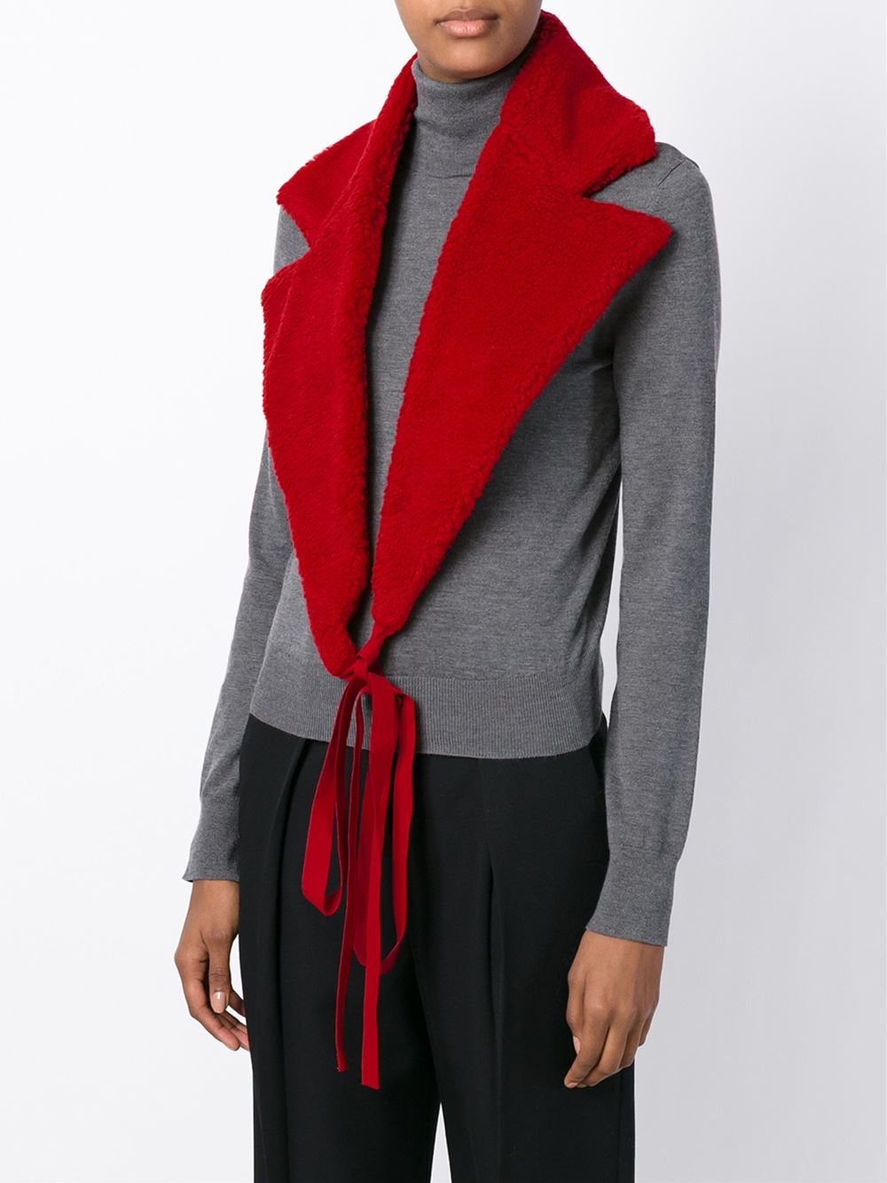 Mm6 by maison martin margiela faux shearling collar in red for Mm6 maison margiela