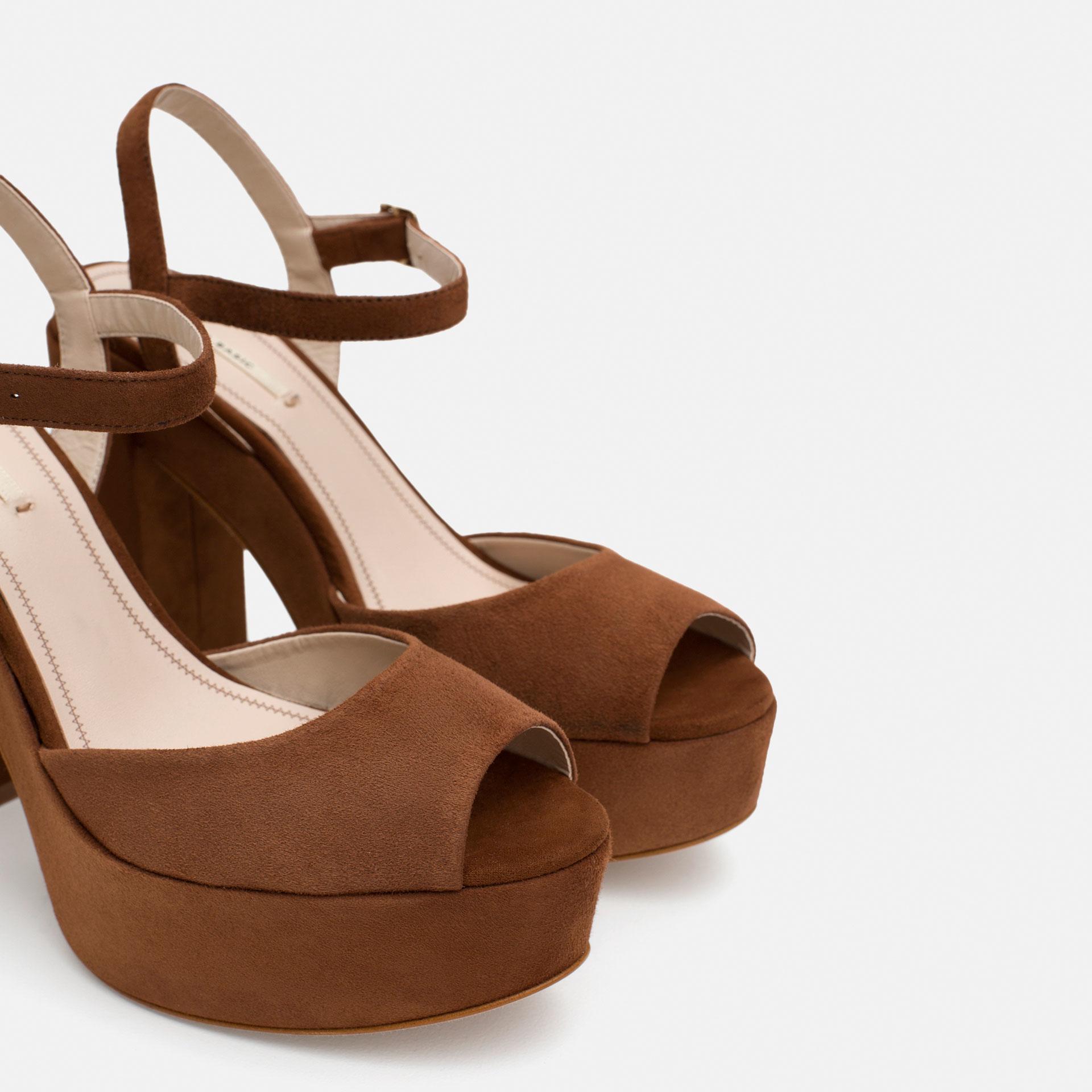 Zara Leather Platform Sandals In Brown Lyst