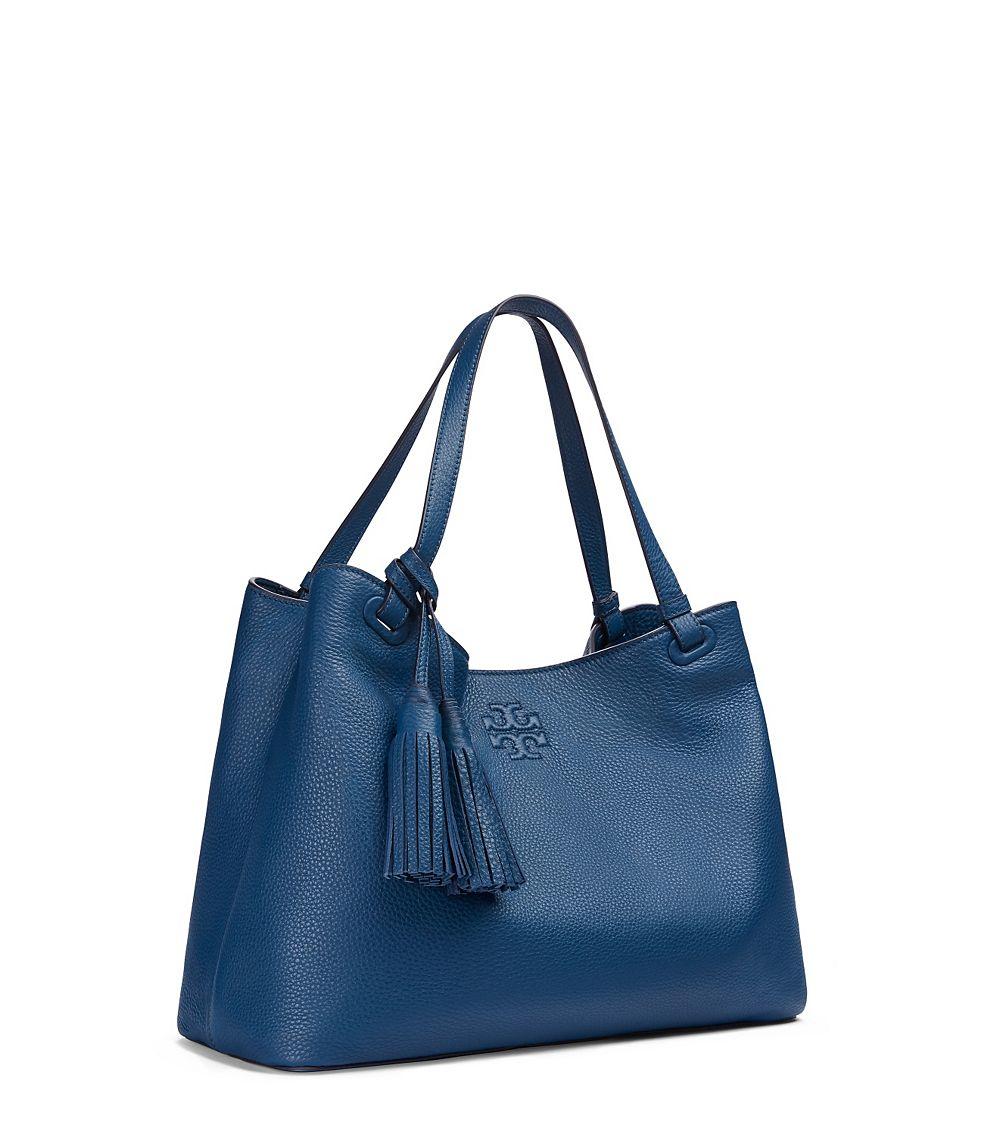 5a9639936543 Lyst - Tory Burch Thea Center-zip Tote in Blue