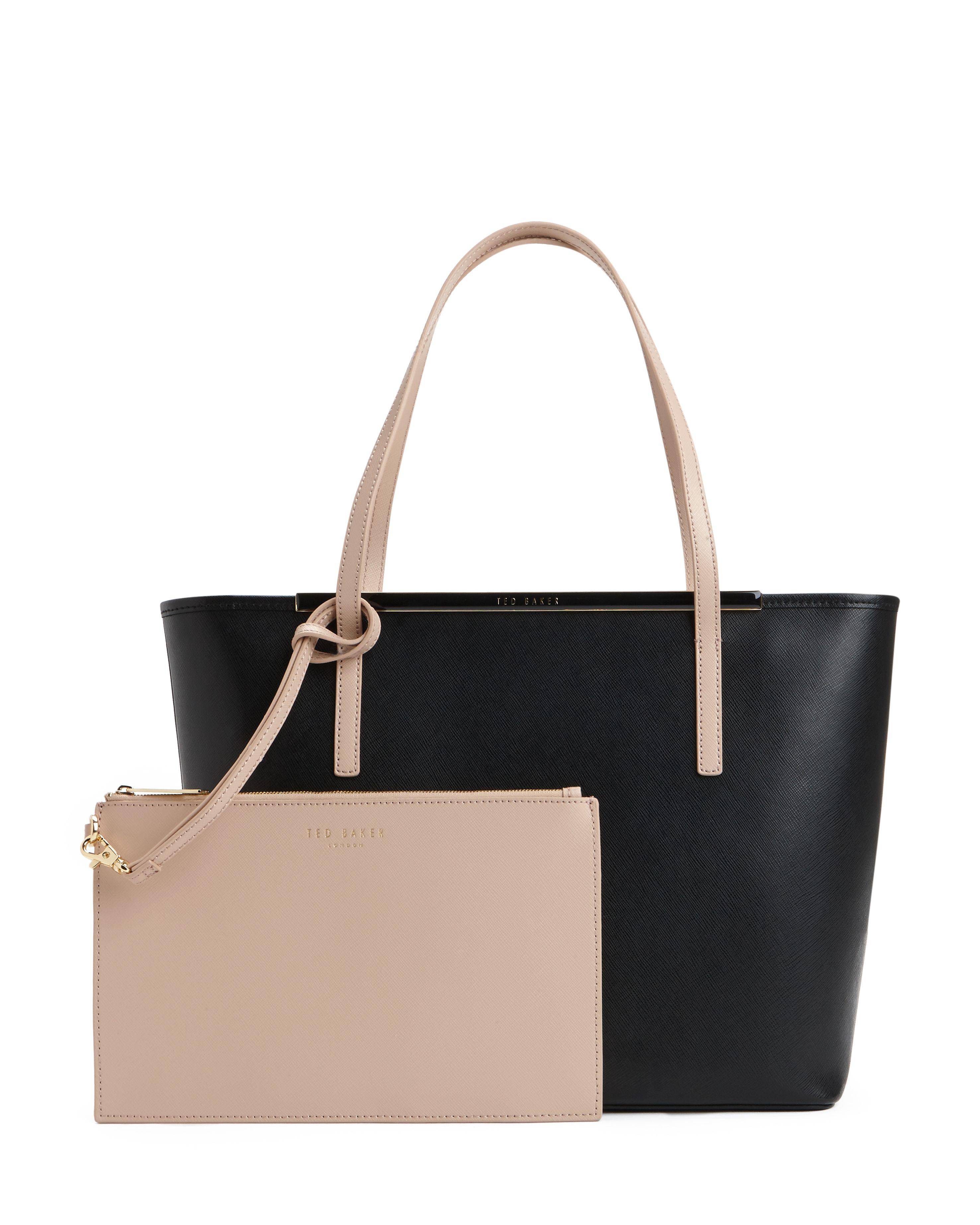 ted baker elsiee large crosshatch shopper bag in black lyst