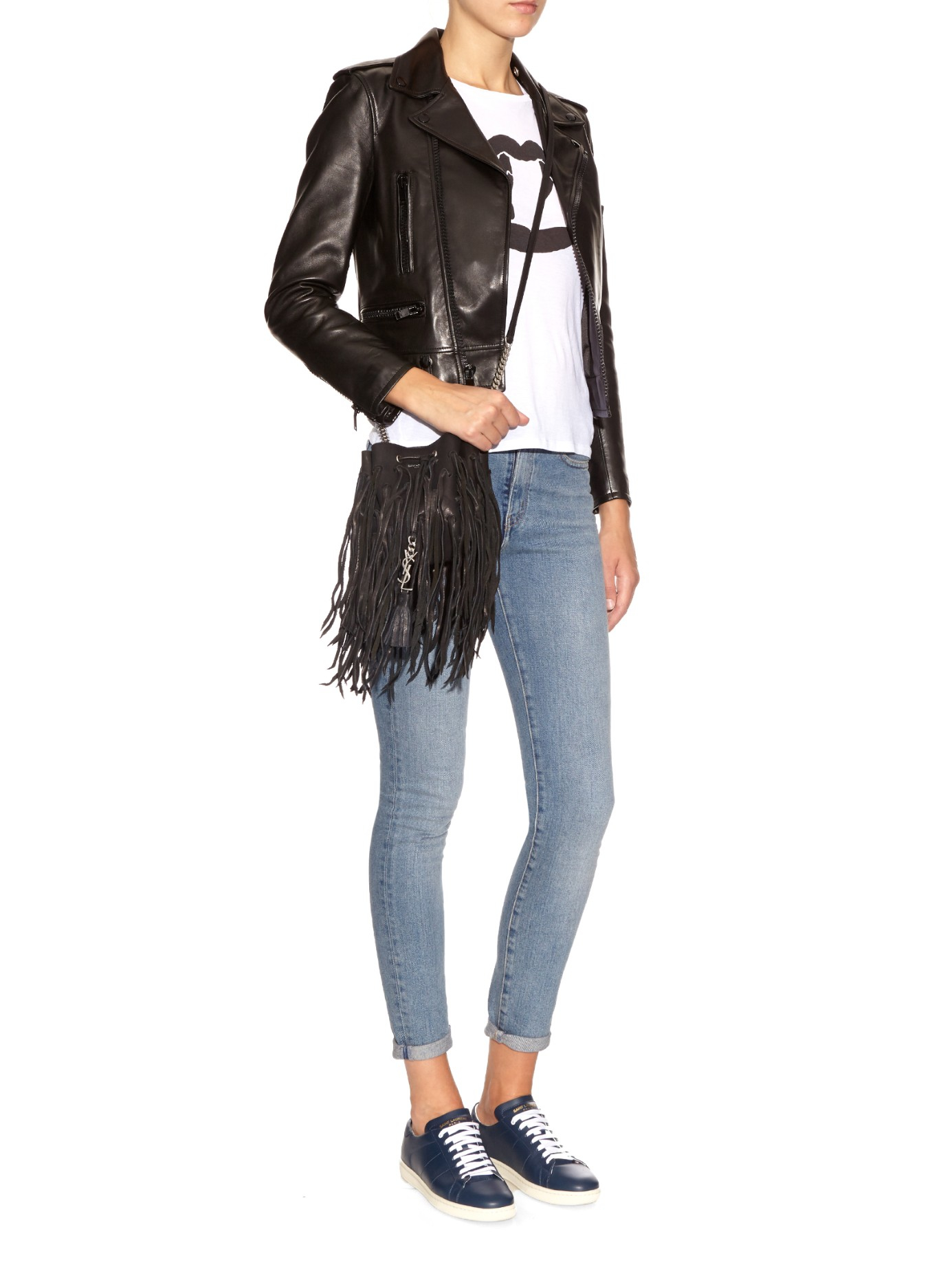 Lyst - Saint Laurent Bourse Monogram Fringed-Leather Cross-Body Bag ... 94e012bfd2df1