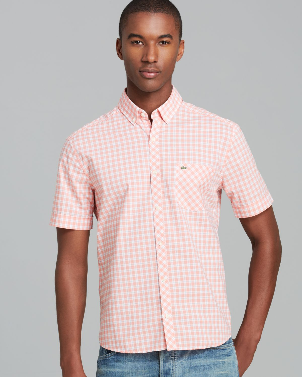 Lacoste Check Short Sleeve Sport Shirt Regular Fit In Pink