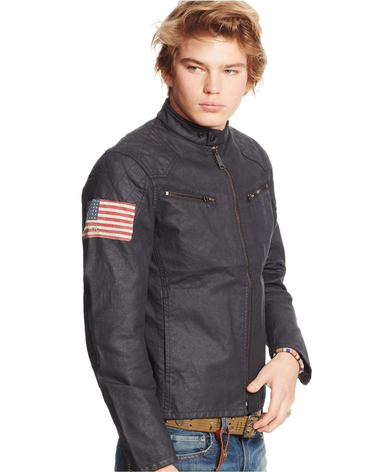 Denim Amp Supply Ralph Lauren Men S Waxed Canvas Moto Jacket