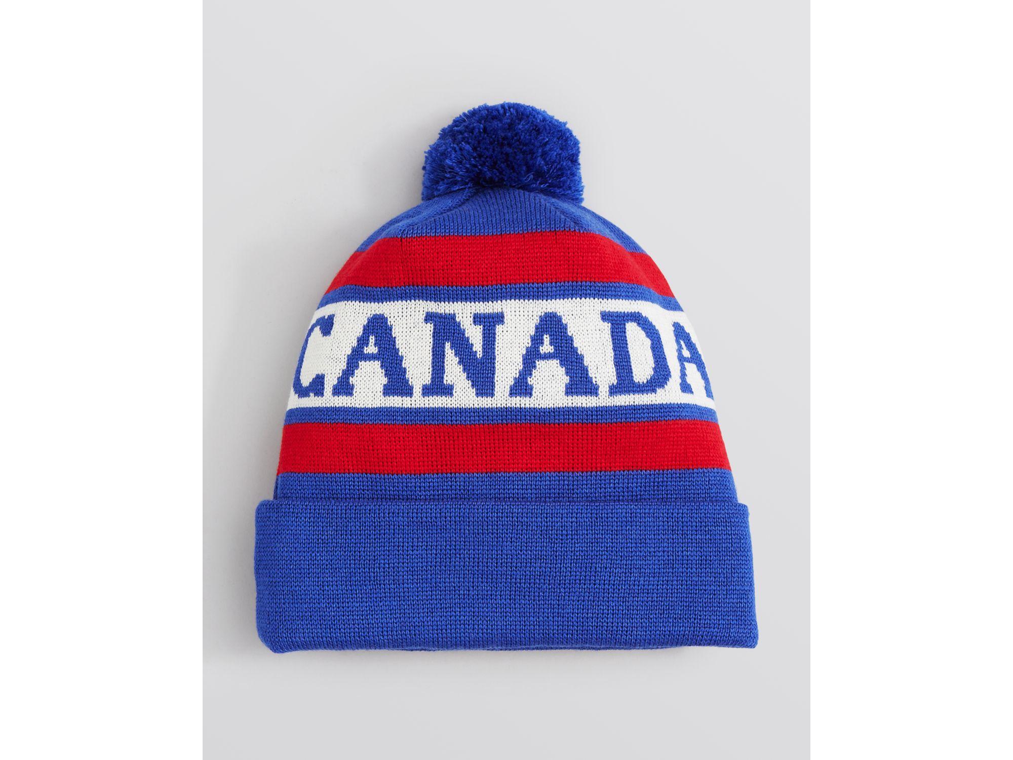 df6b9a1dfd7 Lyst - Canada Goose Logo Pom Pom Hat in Blue for Men