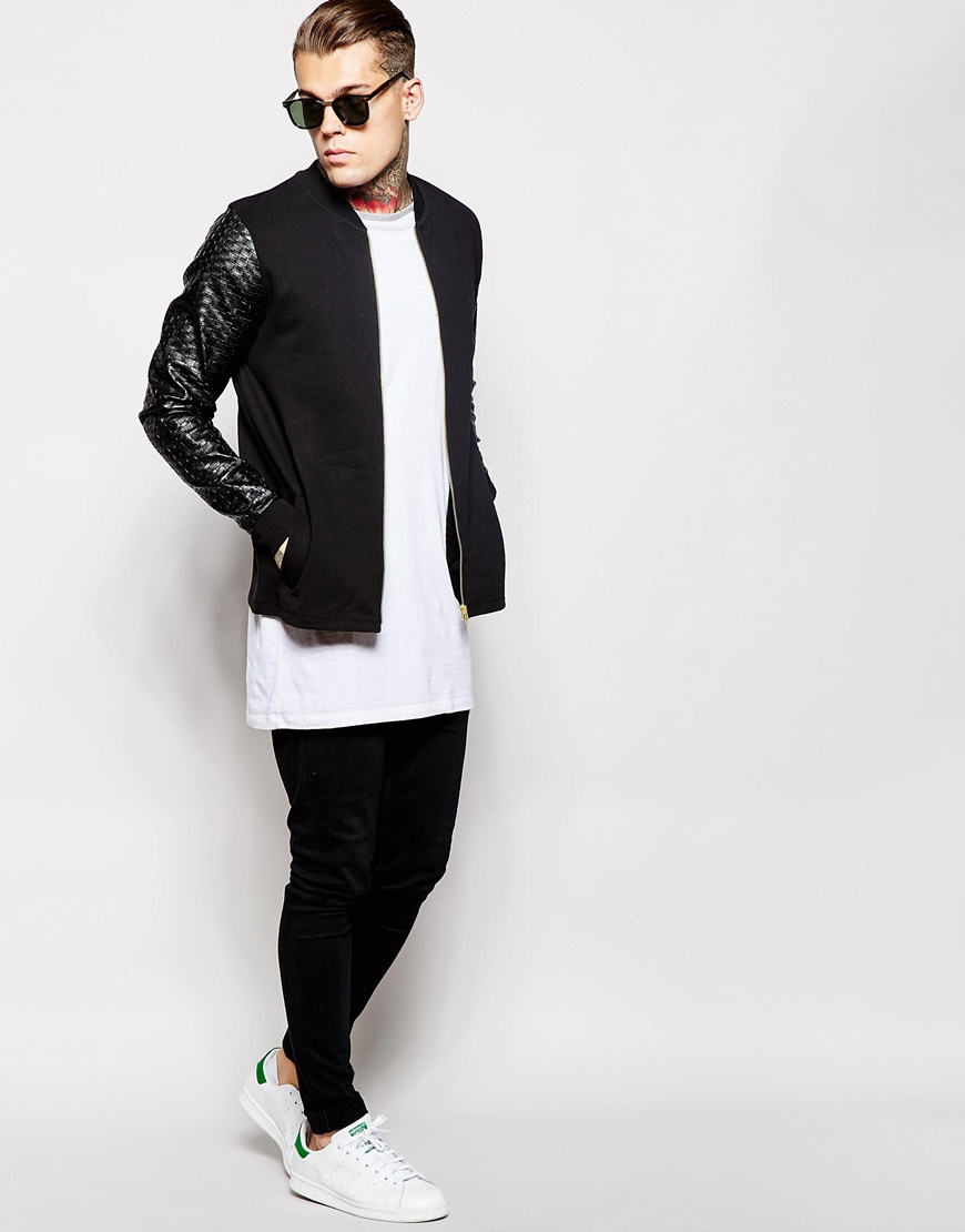 Lyst - Asos Bomber Jacket In Jersey With Gold Zips And Faux Leather Sleeves  in Black for Men